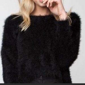 Brandy Melville fuzzy cropped black sweater